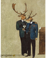 Mixed Media Art. Two dressed up deer drink martinis. Art for Men.