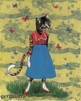 Collage art of a cat wearing a retro outfit, on a yellow background, with butterflies.