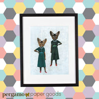Retro decor, retro illustration, vintage home decor, fox illustrations, art for fox lovers, gifts for fox lovers, vintage art, retro art. Animal Art for Your Retro Home - Sassy Lady Foxes Art Print - Fox Art by Pergamo Paper Goods