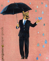 Mixed media animal illustration. Retro collage fox man dressed in a suit with an umbrella. Framed art of a fox holding an umbrella and wearing a suit. Rain drops are falling on a pink background. The illustration is fun and playful. Mixed Media Retro Animal Art - Anthropomorphic - Dapper Fox Art Print by Pergamo Paper Goods