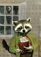Hot Cocoa Raccoon Card