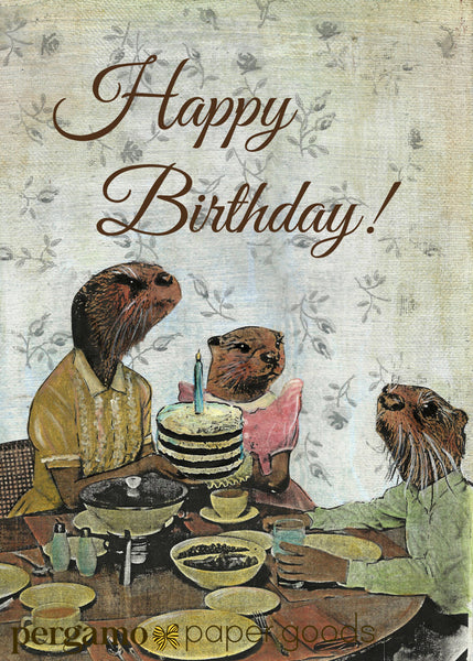 Otter Birthday Cake Card