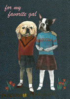 Lesbian greeting card, dog friendship card, retro dressed up dogs, vintage illustration, Lesbian anniversary card, Indie cards, indie card company, illustrated cards