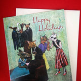 Animal holiday card, Text reads Happy Holidays. Retro Animals at a Party, Vintage Dressed Up Animals Holiday Card, Greeting Cards, Christmas Card
