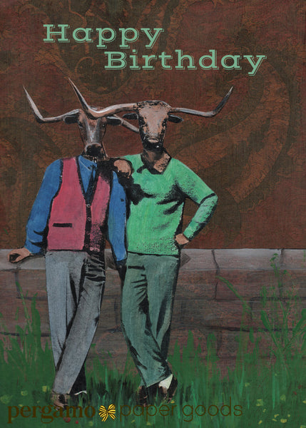 Illustration of two dressed up steer with arms around eachother. Text reads happy birthday. Gay birthday card.