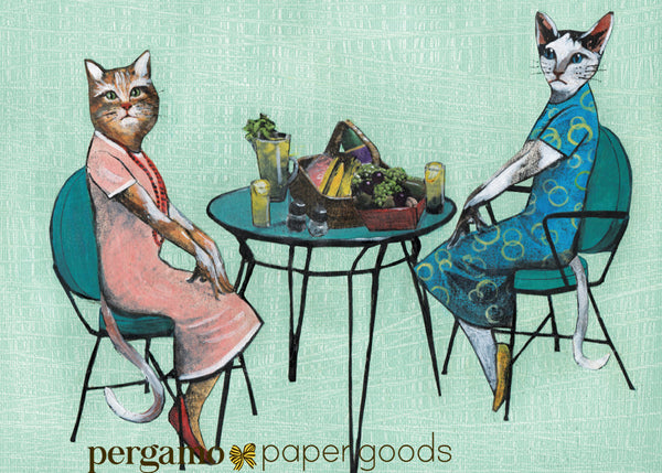 Illustration of dressed up cat ladies having a picnic lunch. Greeting card.