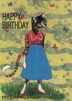 illustrated cat birthday card, happy birthday cat card, retro birthday card, retro cat art, retro animal art, vintage cat art, vintage birthday