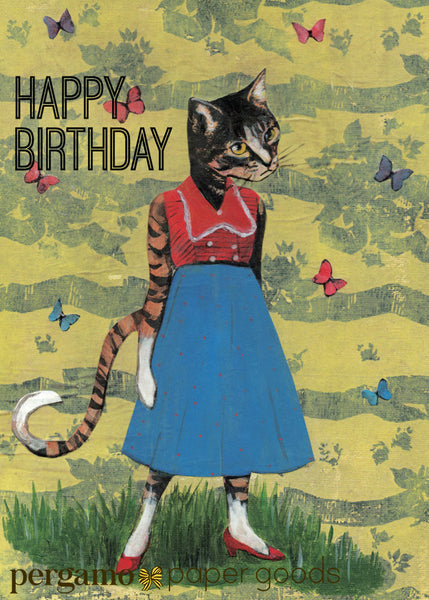 Illustrated Cat Birthday Card Happy Retro