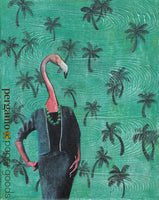 Retro Art Print. Dressed Up Lady Flamingo Art for Animal Lovers, Florida Art Print, Green palm tree background