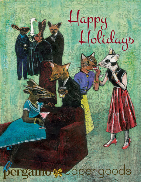 Illustrated card of animals at a holiday party, Happy Holidays. Animal holiday card, animal Christmas Card, Retro holiday cards, artistic holiday cards, illustrated holiday cards