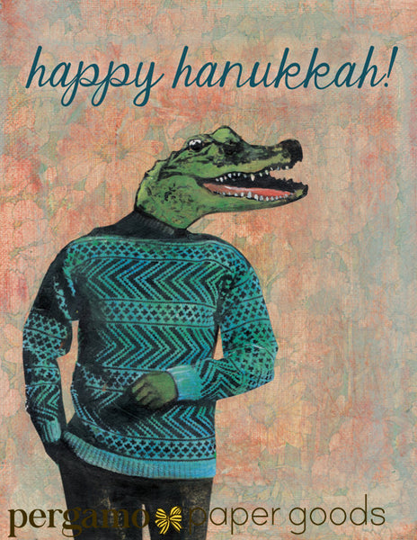 Alligator Hanukkah Card or Card Set