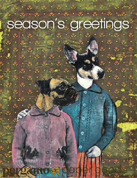 Dressed up dog illustration, dog holiday cards for dog lovers, Seasons Greetings, Pug and Rat Terrier HOliday Card, Dressed Up Animals, Retro holiday card, retro christmas card, vintage christmas card, vintage holiday card