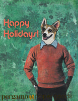 Collage illustration of a corgi dog in a sweater. Vintage lettering reads Happy Holidays!