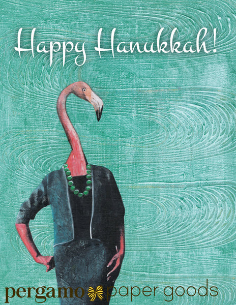 Fancy lady flamingo illustration. Flamingo hanukkah greeting cards says Happy Hanukkah! Mixed media flamingo art