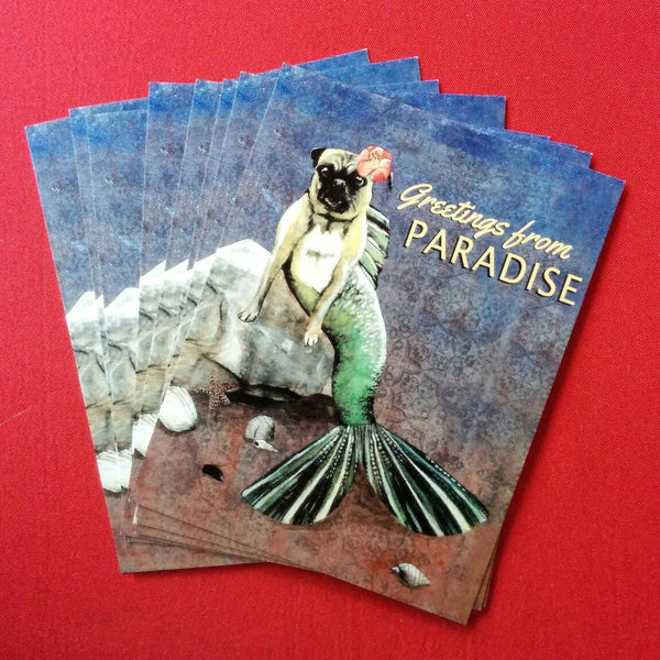 "Mermaid Pug Postcard ""Greetings from Paradise"""