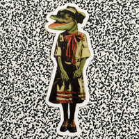 Vintage inspired vinyl sticker of a dressed up animal - alligator