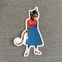 Fun Handmade Laptop Stickers, Retro Cat Vinyl Sticker www.pergamopapergoods.com