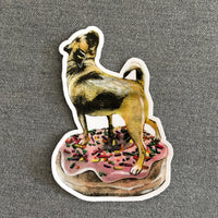 Illustrated sticker, donut pug vinyl sticker.