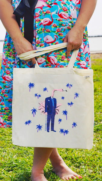 Girl holding retro tote bag, retro flamingo illustration on tote. Organic cotton tote. Artists tote