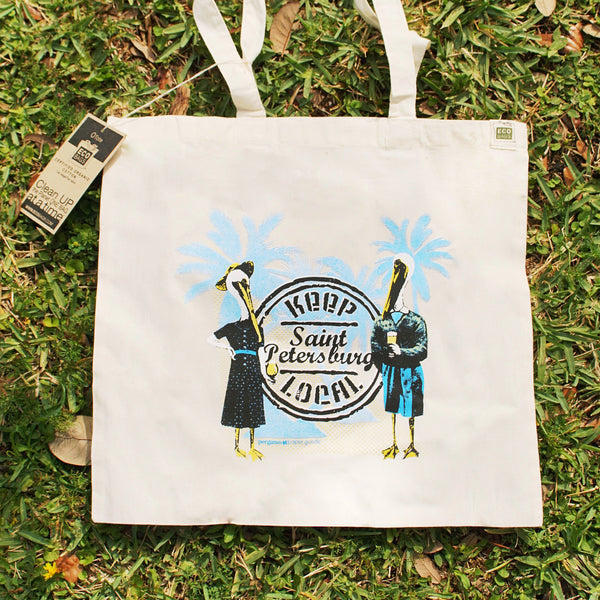 St Petersburg Tote Bag | Keep St Pete Local Pelican Organic Cotton Canvas Tote | Florida Grocery Bag | Screen Printed Illustration