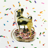 Pug Sticker. Pug Donut Sticker. Mixed Media Pug Illustration, sticker surrounded by sprinkles