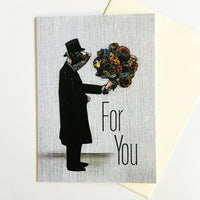 "Dressed Up Pig Holding Flowers Greeting Card, Text reads ""For You"""