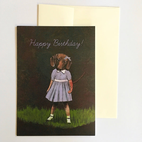 Birthday Card For Dachshund Lovers Dog Dressed Up Girl
