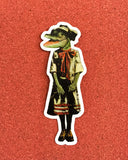 Dressed up alligator with white border laptop sticker