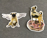 Pug Vinyl Stickers. Angel Pug Sticker, Donut Pug Sticker. Vinyl Laptop Stickers Made in USA