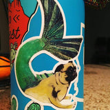 Mermaid Pug Vinyl Sticker