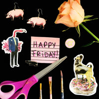 "Pink flat lay. ""Happy Friday"" Donut Pug Sticker, Flamingo Man Sticker"