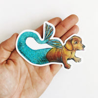 Mermaid Dachshund Vinyl Sticker