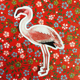 Retro flamingo sticker, vintage flamingo sticker
