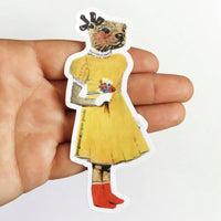 Otter in Yellow Dress Vinyl Sticker