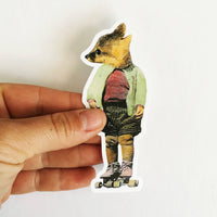 Hand holding a fox laptop sticker, Cute fox sticker, baby fox gift, baby fox laptop sticker