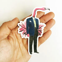 Flamingo vinyl sticker being held. Stickers for Animal Lovers. Colorful flamingo dressed up in a suit. Flamingo wearing clothes.