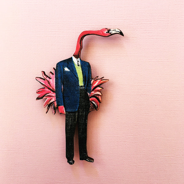 Flamingo magnet. Dressed up flamingo, retro flamingo. Retro kitchen gift, unique magnet, laser cut wood. www.pergamopapergoods.com