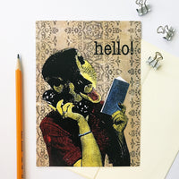 Duck stationery. Retro stationery. Handmade greeting card. Retro Greeting Cards for Animal Lovers - Illustrated Duck Hello Card by Pergamo Paper Goods