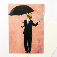 Fox greeting card. Illustrated fox wearing a suit, holding an umbrella. Pink background.