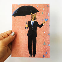 Mixed media fox illustration. Dressed up fox greeting card. Fox holding an umbrella. Mixed media Fox.