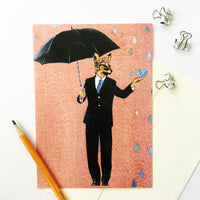 Illustrated animal greeting card. Art greeting card, handmade greeting card, fox man greeting card. Cards for men.