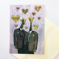 Purple greeting card, gay greeting card. Gay marriage card, lgbtq card. Giraffe card. Gay art. Gay love card.