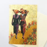 Mixed media illustration of foxes kissing, lesbian art, lesbian card, lesbian wedding card