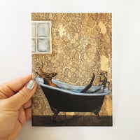 Bathtub Deer Card - Funny Animal Greeting Cards - Art Cards for Animal Lovers by Pergamo Paper Goods