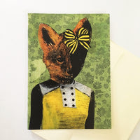 Illustrated fox greeting card, illustrated animal card, Dressed up fox greeting card, retro fox card