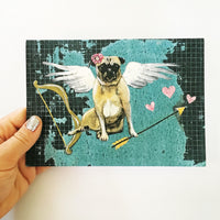 Holding a pug greeting card, Pug Valentines Day Card, Indie Card, Indie Artist, Dog Valentines Day Card