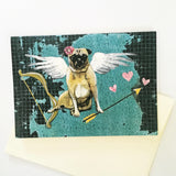 Dog with Angel Wings, Angel Dog, Angel Pug, Dog Card, Pug Card