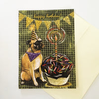 Mixed Media Greeting Card, Pug Birthday Card