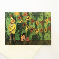 Cute fox birthday card, green background, text says happy birthday