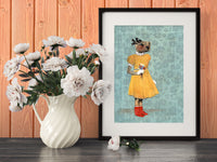 Gifts for Otter Lovers - Retro Otter Art Print - Otter in Yellow Dress by Pergamo Paper Goods